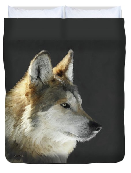Mexican Grey Wolf Portrait Freehand Duvet Cover by Ernie Echols