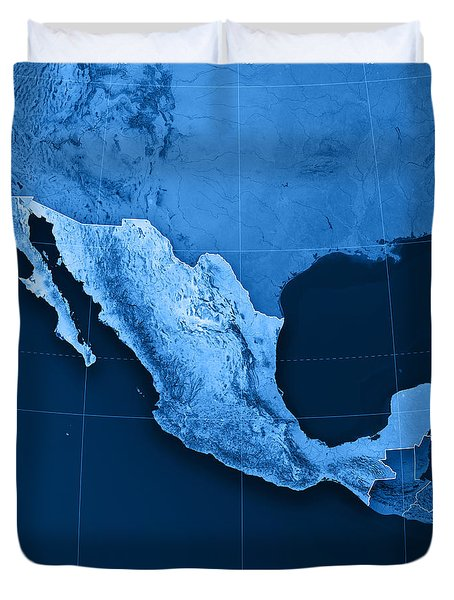 Mexico Topographic Map Duvet Cover by Frank Ramspott