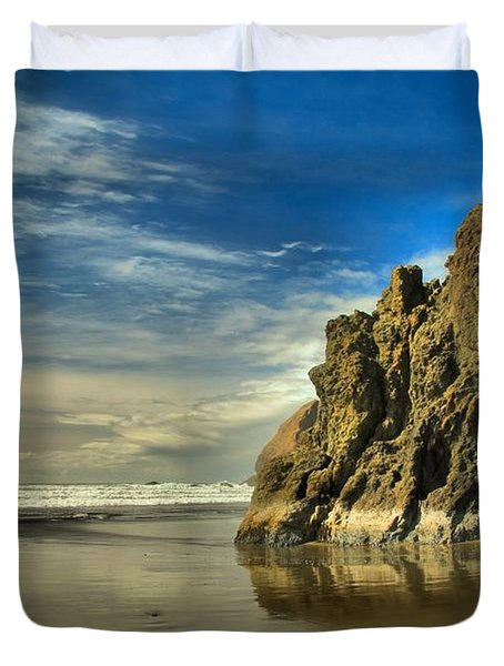 Meyers Beach Stacks Duvet Cover by Adam Jewell