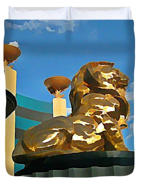 Mgm Lion In Las Vegas Duvet Cover by John Malone