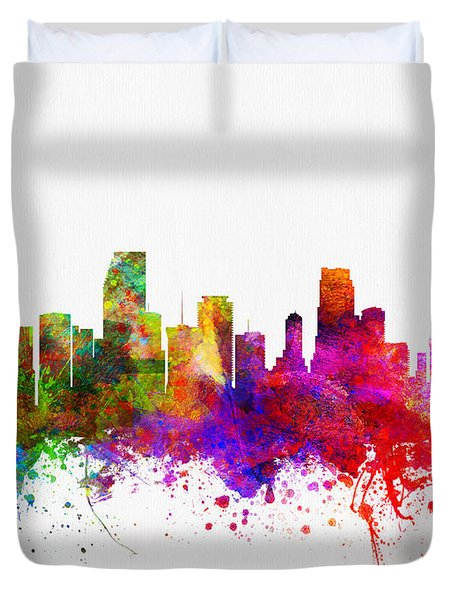 Miami Florida Skyline Duvet Cover by Aged Pixel
