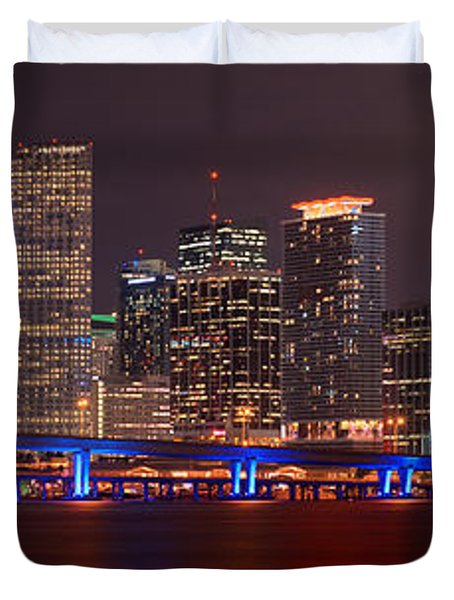 Miami Skyline At Night Panorama Color Duvet Cover by Jon Holiday