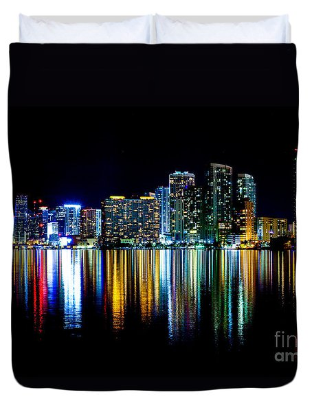 Miami Skyline High Res Duvet Cover by Rene Triay Photography