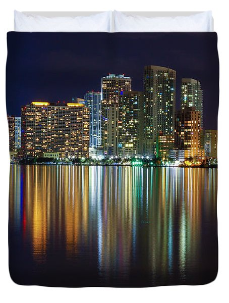 Miami Skyline IIi High Res Duvet Cover by Rene Triay Photography