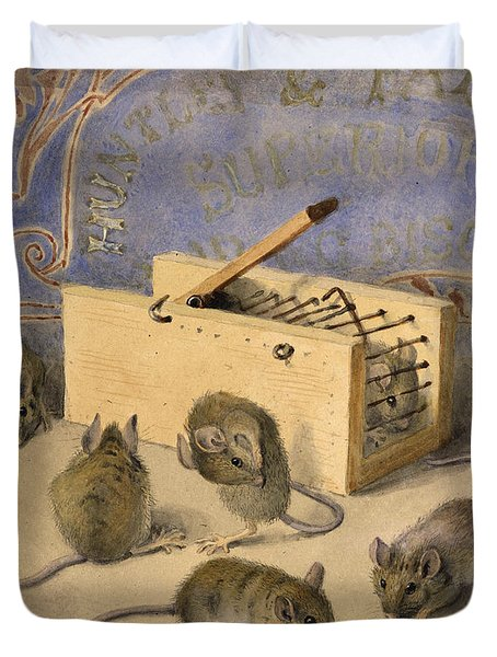 Mice And Huntley Palmers Superior Biscuits Duvet Cover by Agnes Louise Holding
