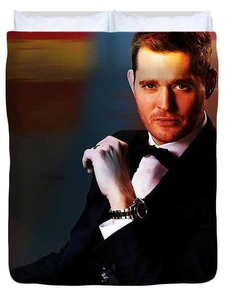 Michael Buble Duvet Cover by Marvin Blaine
