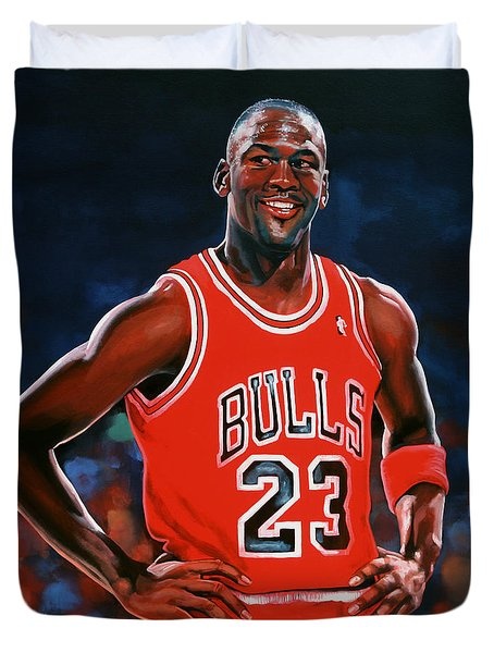 Michael Jordan Duvet Cover by Paul Meijering