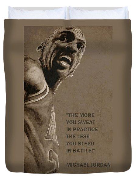 Michael Jordan - Practice Duvet Cover by Richard Tito