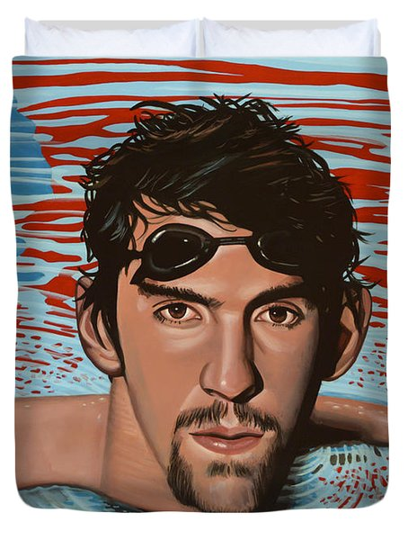 Michael Phelps Duvet Cover by Paul  Meijering