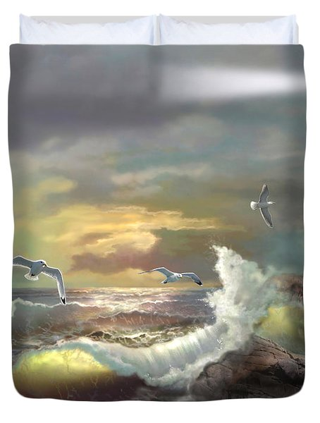 Michigan Seul Choix Point Lighthouse with an Angry Sea Duvet Cover by Gina Femrite