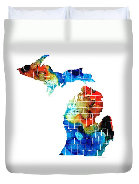 Michigan State Map - Counties By Sharon Cummings Duvet Cover by Sharon Cummings