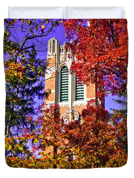 Michigan State University Beaumont Tower Duvet Cover by John McGraw