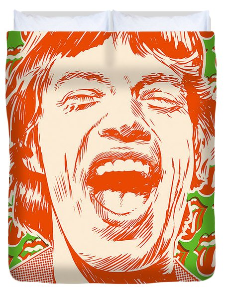 Mick Jagger Pop Art Duvet Cover by Jim Zahniser