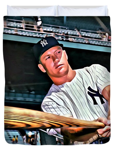 Mickey Mantle Painting Duvet Cover by Florian Rodarte