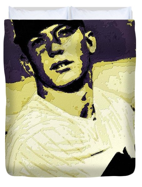 Mickey Mantle Poster Art Duvet Cover by Florian Rodarte