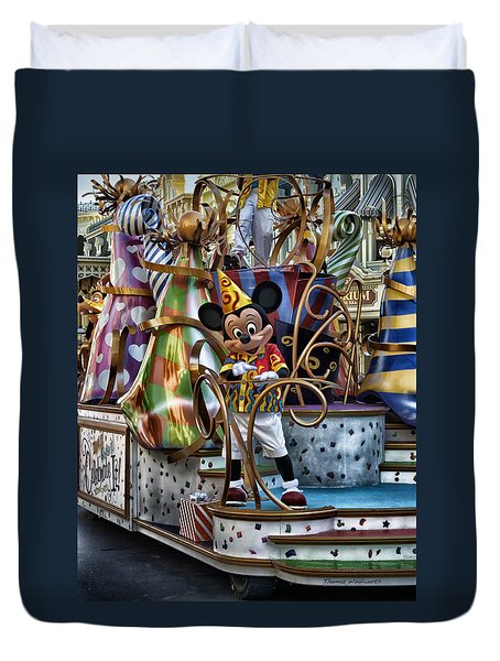 Mickey Mouse On His Celebrate It Float Duvet Cover by Thomas Woolworth