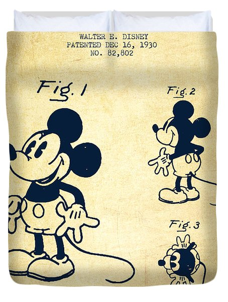 Mickey Mouse Patent Drawing From 1930 - Vintage Duvet Cover by Aged Pixel