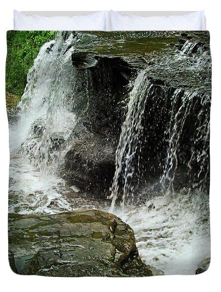 Middle Johnson Falls Duvet Cover by Lianne Schneider