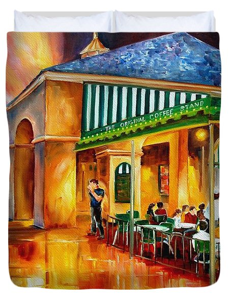 Midnight At The Cafe Du Monde Duvet Cover by Diane Millsap
