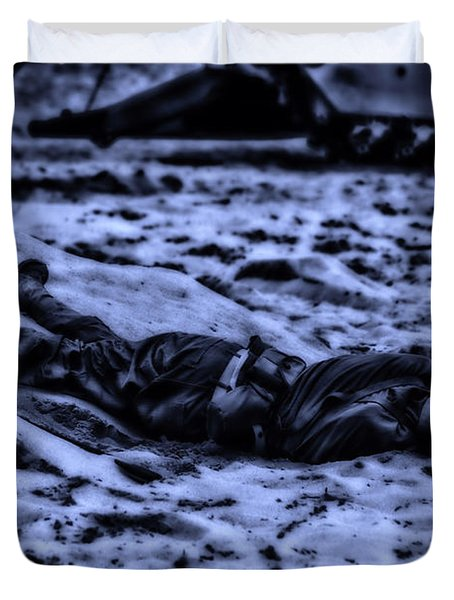 Midnight Battle All Alone Duvet Cover by Thomas Woolworth