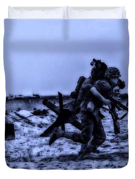 Midnight Battle Stay Close Duvet Cover by Thomas Woolworth