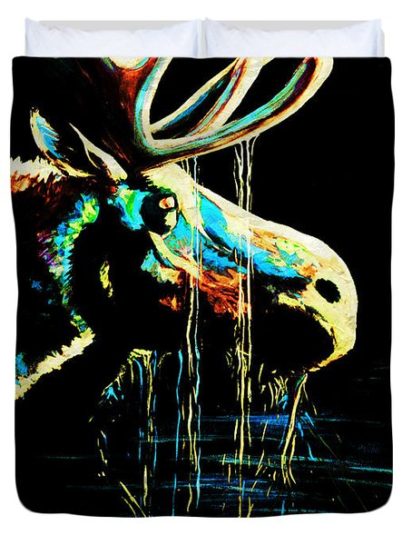 Midnight Moose Drool  Duvet Cover by Teshia Art