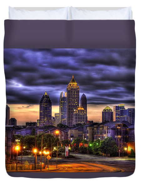 Midtown Atlanta Towers Over Atlantic Commons Duvet Cover by Reid Callaway