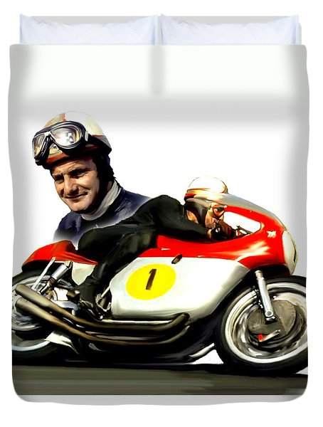 Mike The Bike  Mike Hailwood Duvet Cover by Iconic Images Art Gallery David Pucciarelli
