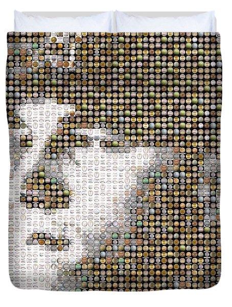 Mike Trout Mosaic Duvet Cover by Paul Van Scott