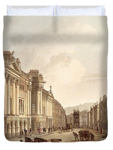 Milsom Street, From Bath Illustrated Duvet Cover by John Claude Nattes
