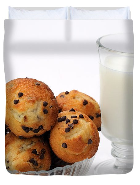 Mini Chocolate Chip Muffins And Milk - Bakery - Snack - Dairy - 1 Duvet Cover by Andee Design