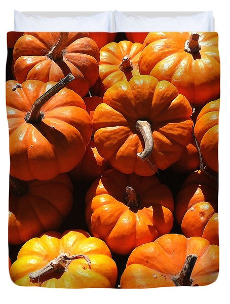 Mini Fall Pumpkins Duvet Cover by Denyse Duhaime