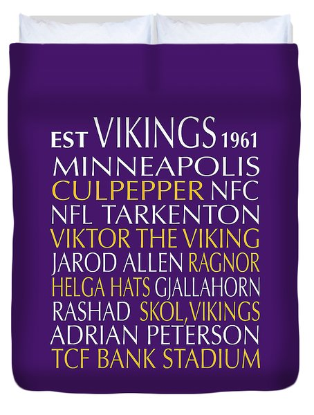 Minnesota Vikings Duvet Cover by Jaime Friedman