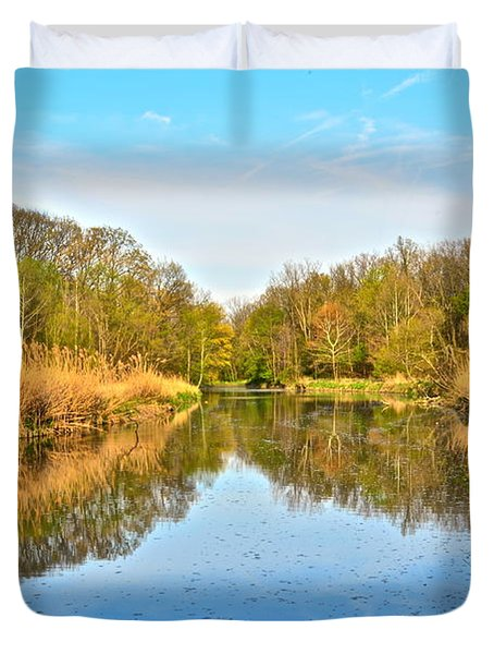 Mirror Canal Duvet Cover by Frozen in Time Fine Art Photography