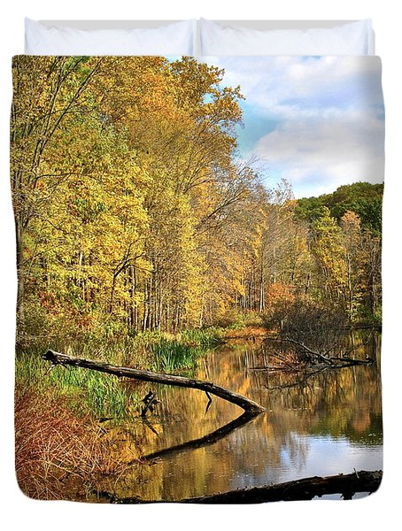 Mirror Mirror On The Floor Duvet Cover by Frozen in Time Fine Art Photography