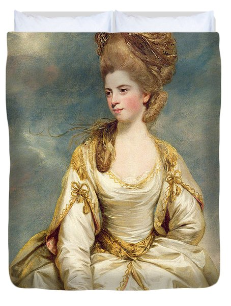 Miss Sarah Campbell Duvet Cover by Sir Joshua Reynolds