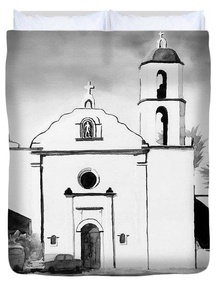 Mission San Luis Rey Bw Blue Duvet Cover by Kip DeVore