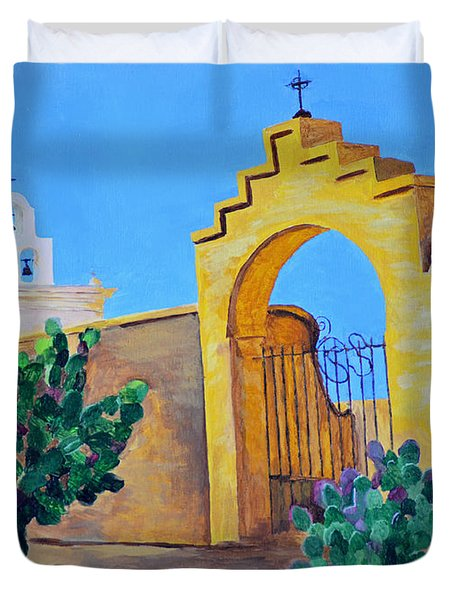 Duvet Cover featuring the painting Mission San Xavier by Rodney Campbell