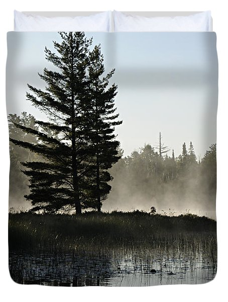 Mist And Silhouette Duvet Cover by Larry Ricker