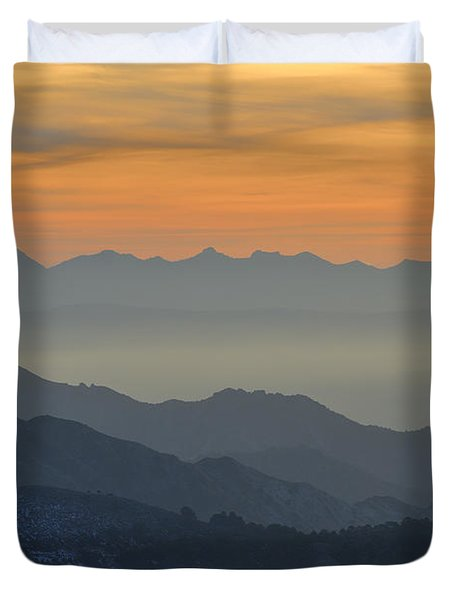 Mists In The Mountains At Sunset Duvet Cover by Guido Montanes Castillo