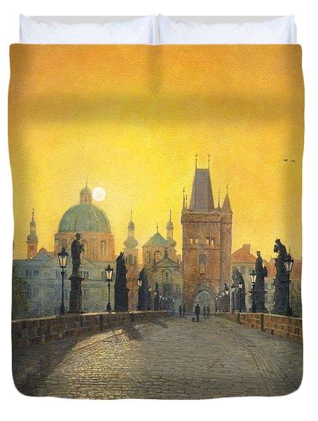 Misty Dawn Charles Bridge Prague Duvet Cover by Richard Harpum