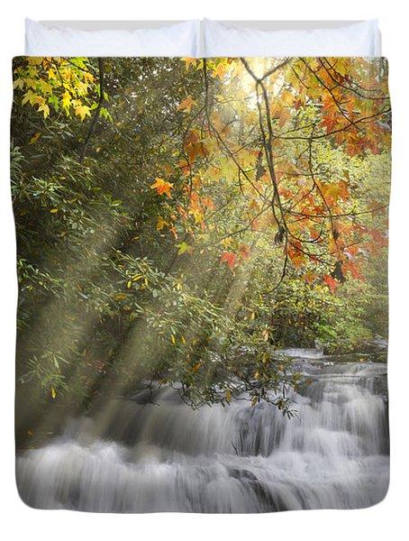 Misty Falls At Coker Creek Duvet Cover by Debra and Dave Vanderlaan