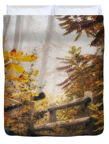 Misty Footbridge Duvet Cover by Scott Norris