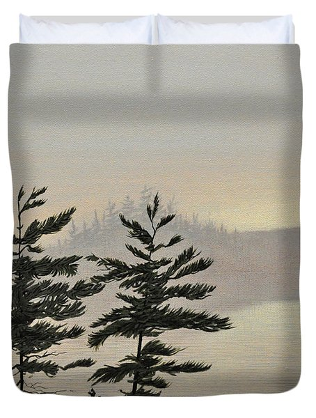 Misty Lake Duvet Cover by Kenneth M  Kirsch