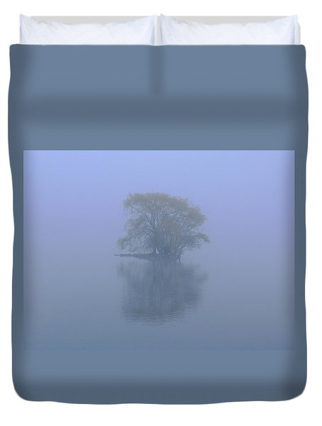 Misty Morning At Jamaica Pond Duvet Cover by Juergen Roth