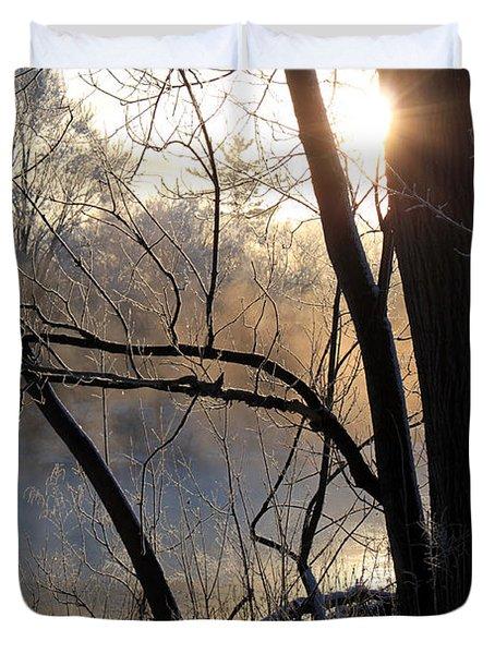 Misty River Sunrise Duvet Cover by Hanne Lore Koehler