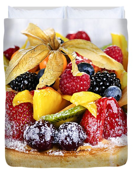 Mixed Tropical Fruit Tart Duvet Cover by Elena Elisseeva