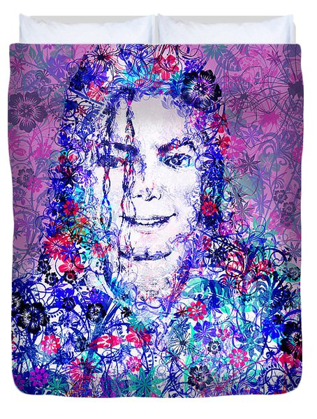 Mj Floral Version Duvet Cover by Bekim Art