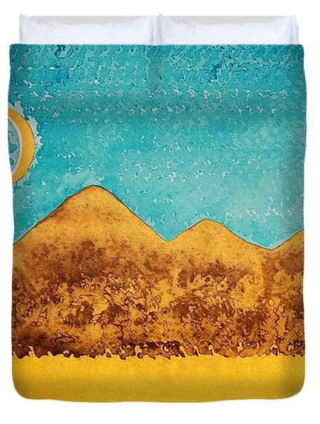 Mojave Moonrise Original Painting Duvet Cover by Sol Luckman