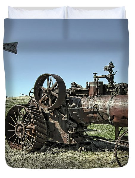 Molson Washington Ghost Town Steam Tractor And Wind Mill Duvet Cover by Daniel Hagerman